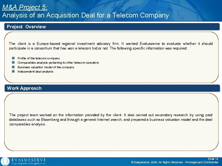 M&A Project 5: Analysis of an Acquisition Deal for a Telecom Company Project Overview