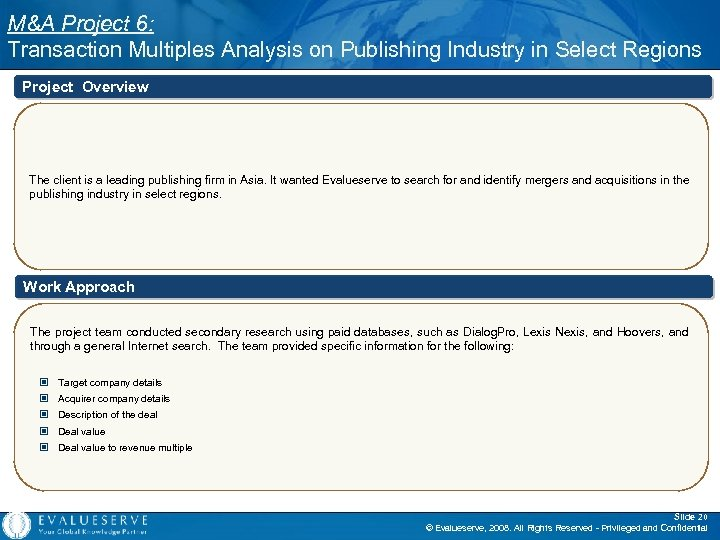 M&A Project 6: Transaction Multiples Analysis on Publishing Industry in Select Regions Project Overview