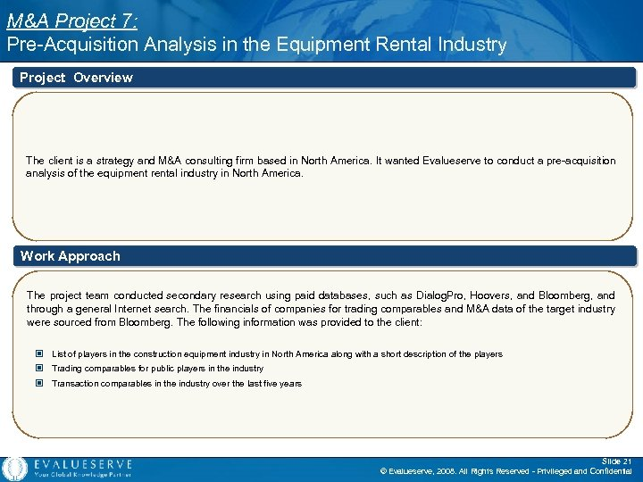M&A Project 7: Pre-Acquisition Analysis in the Equipment Rental Industry Project Overview The client
