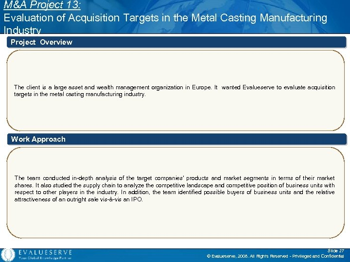 M&A Project 13: Evaluation of Acquisition Targets in the Metal Casting Manufacturing Industry Project