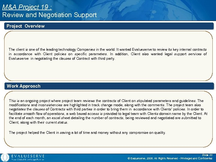 M&A Project 19 : Review and Negotiation Support Project Overview The client is one