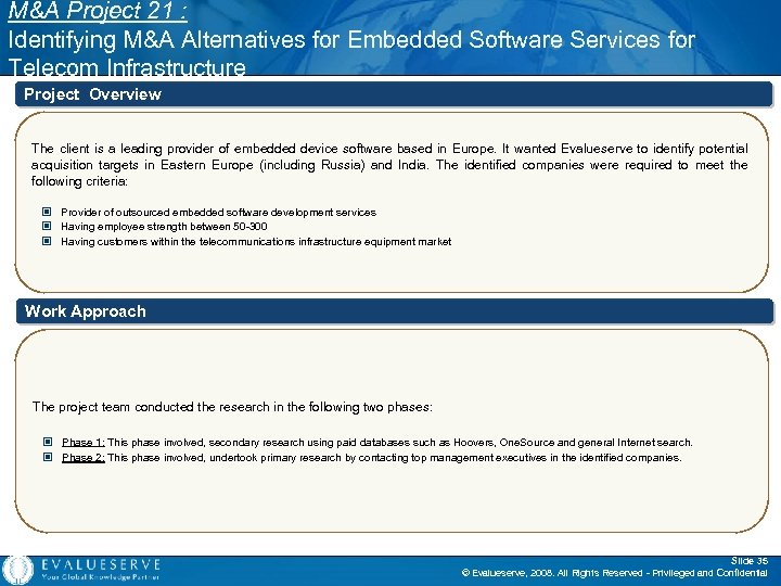 M&A Project 21 : Identifying M&A Alternatives for Embedded Software Services for Telecom Infrastructure