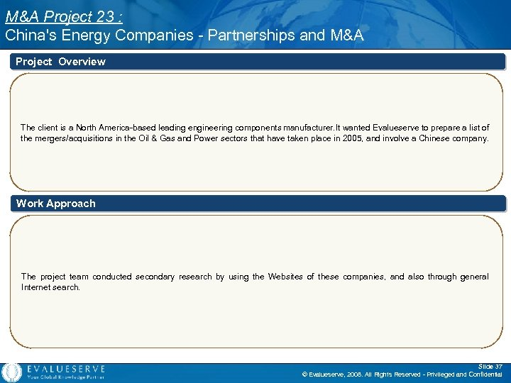 M&A Project 23 : China's Energy Companies - Partnerships and M&A Project Overview The