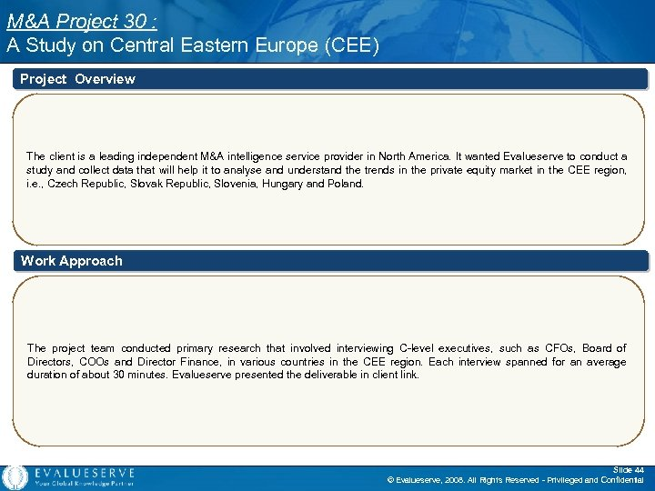 M&A Project 30 : A Study on Central Eastern Europe (CEE) Project Overview The