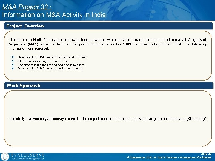 M&A Project 32 : Information on M&A Activity in India Project Overview The client
