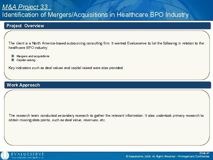 M&A Project 33 : Identification of Mergers/Acquisitions in Healthcare BPO Industry Project Overview The