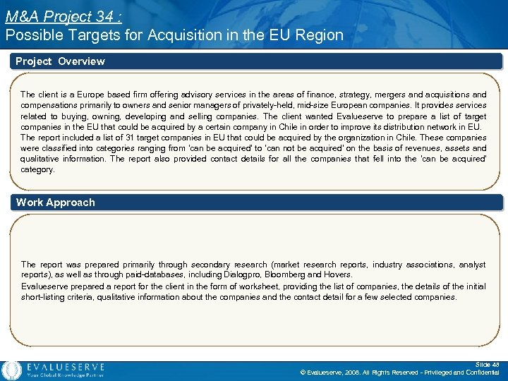 M&A Project 34 : Possible Targets for Acquisition in the EU Region Project Overview