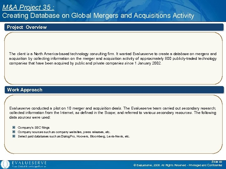 M&A Project 35 : Creating Database on Global Mergers and Acquisitions Activity Project Overview