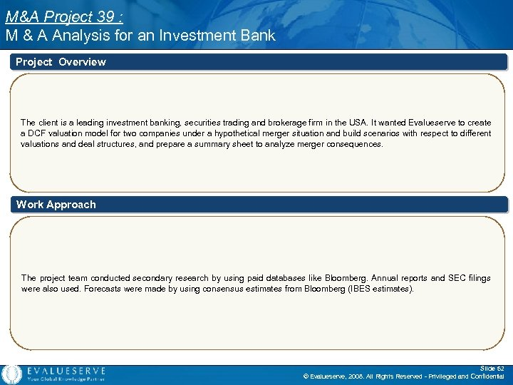 M&A Project 39 : M & A Analysis for an Investment Bank Project Overview
