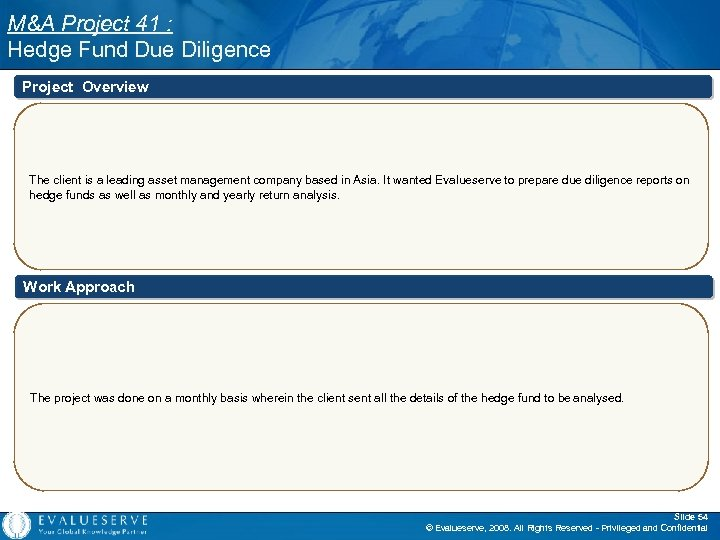 M&A Project 41 : Hedge Fund Due Diligence Project Overview The client is a