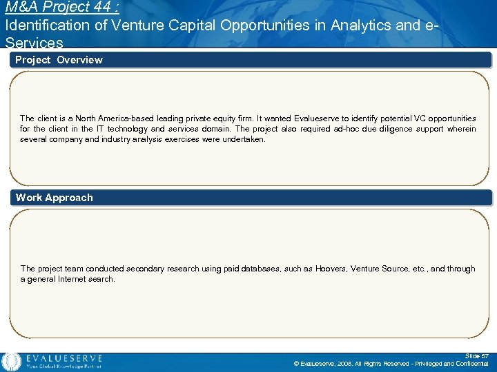M&A Project 44 : Identification of Venture Capital Opportunities in Analytics and e. Services