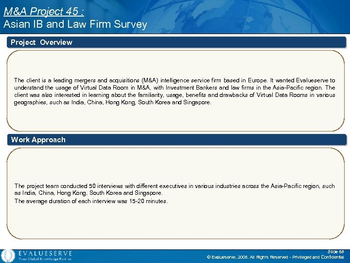 M&A Project 45 : Asian IB and Law Firm Survey Project Overview The client