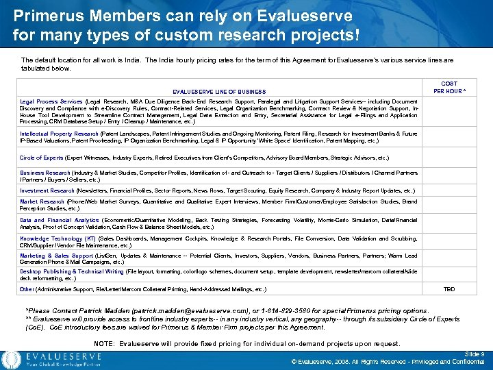 Primerus Members can rely on Evalueserve for many types of custom research projects! The
