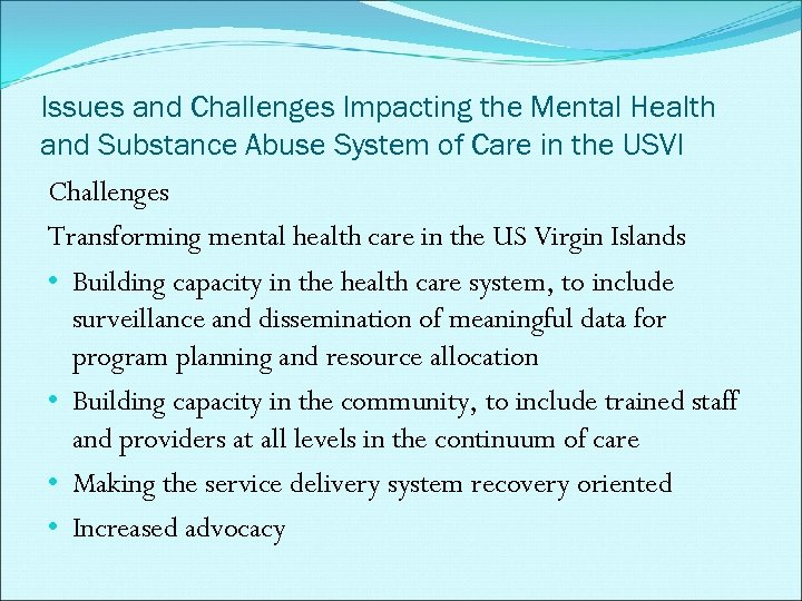 Issues and Challenges Impacting the Mental Health and Substance Abuse System of Care in