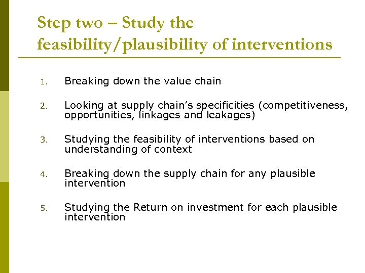 Step two – Study the feasibility/plausibility of interventions 1. Breaking down the value chain