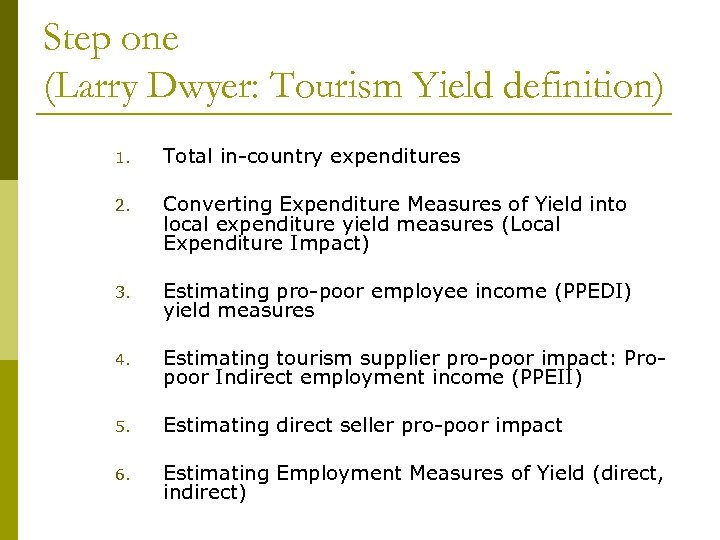 Step one (Larry Dwyer: Tourism Yield definition) 1. Total in-country expenditures 2. Converting Expenditure