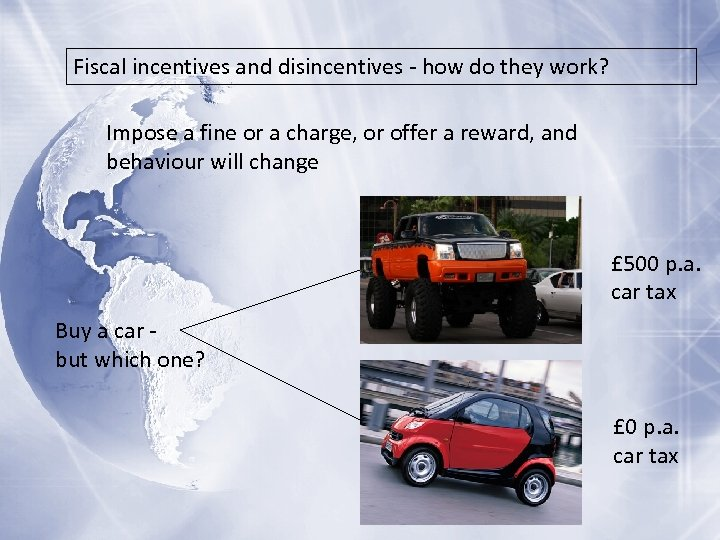 Fiscal incentives and disincentives - how do they work? Impose a fine or a