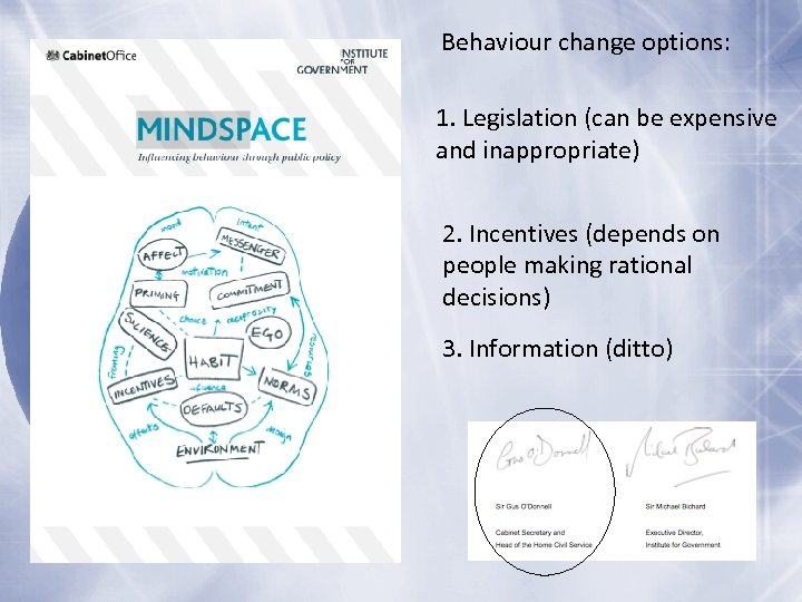 Behaviour change options: 1. Legislation (can be expensive and inappropriate) 2. Incentives (depends on