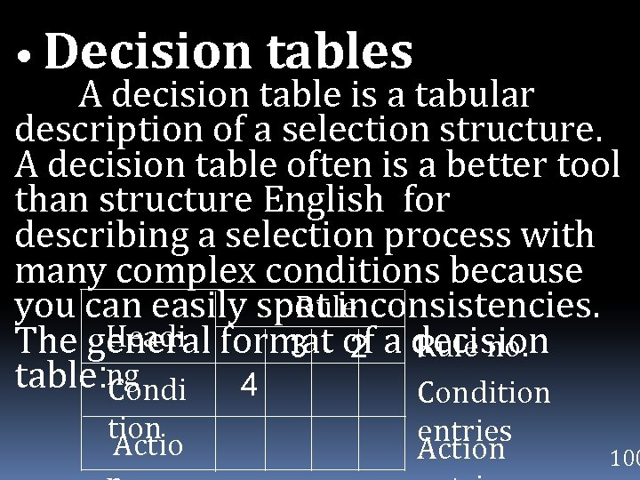 • Decision tables A decision table is a tabular description of a selection