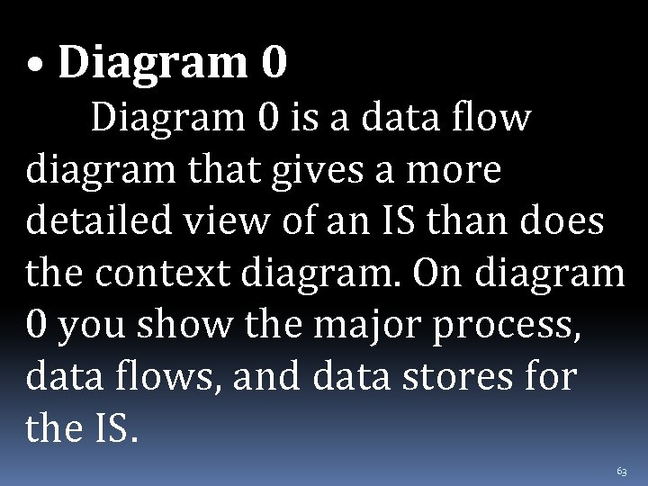 • Diagram 0 is a data flow diagram that gives a more detailed