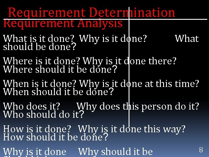 Requirement Determination Requirement Analysis What is it done? Why is it done? What