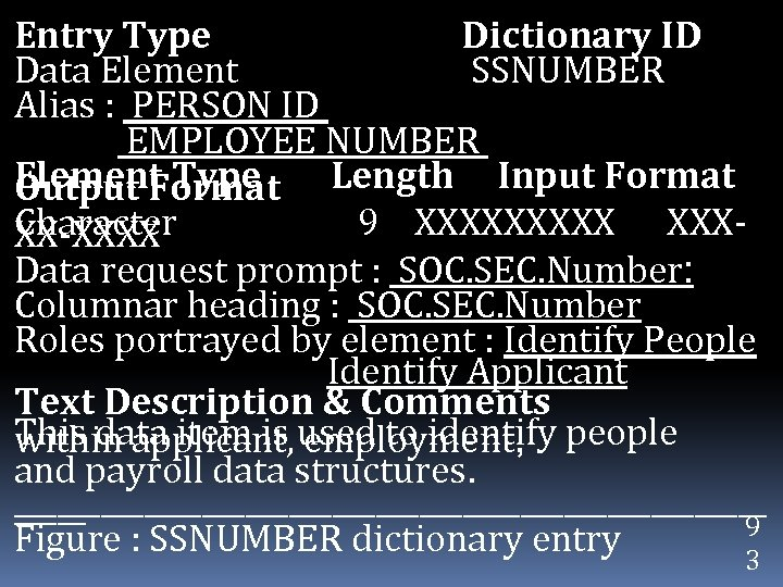 Entry Type Dictionary ID Data Element SSNUMBER Alias : PERSON ID EMPLOYEE NUMBER Element