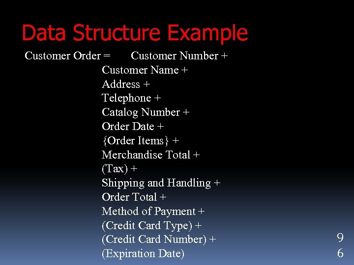 Data Structure Example Customer Order = Customer Number + Customer Name + Address +
