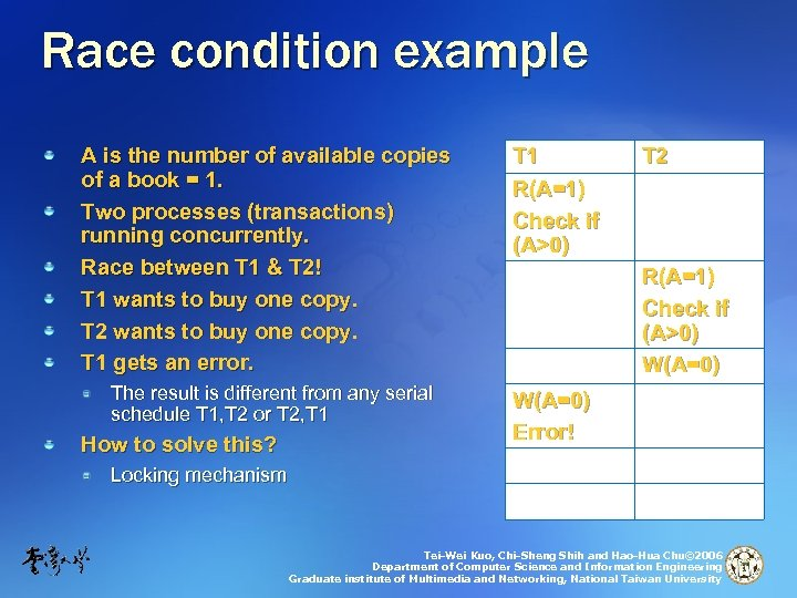 Race condition example A is the number of available copies of a book =