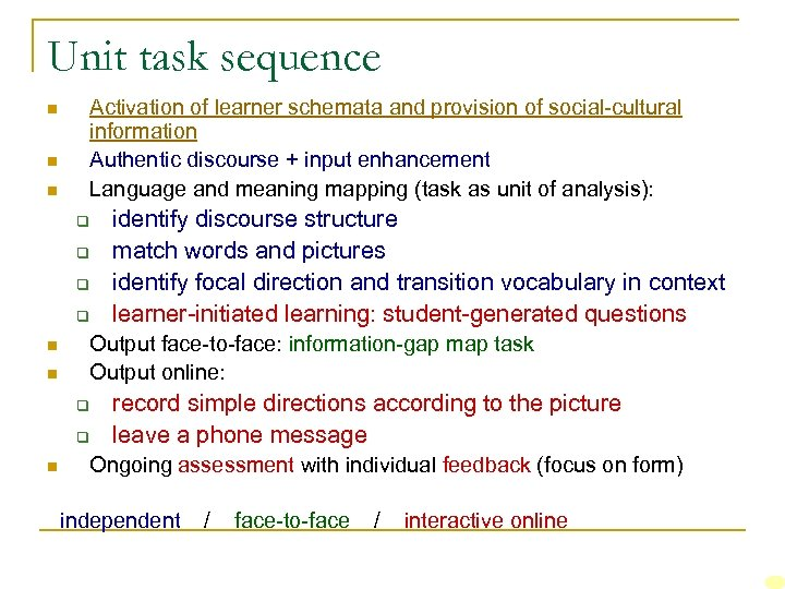 Unit task sequence n n n Activation of learner schemata and provision of social-cultural
