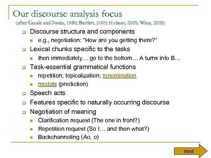 Our discourse analysis focus (after Canale and Swain, 1980; Bartlett, 2005; Holmes, 2005; Winn,