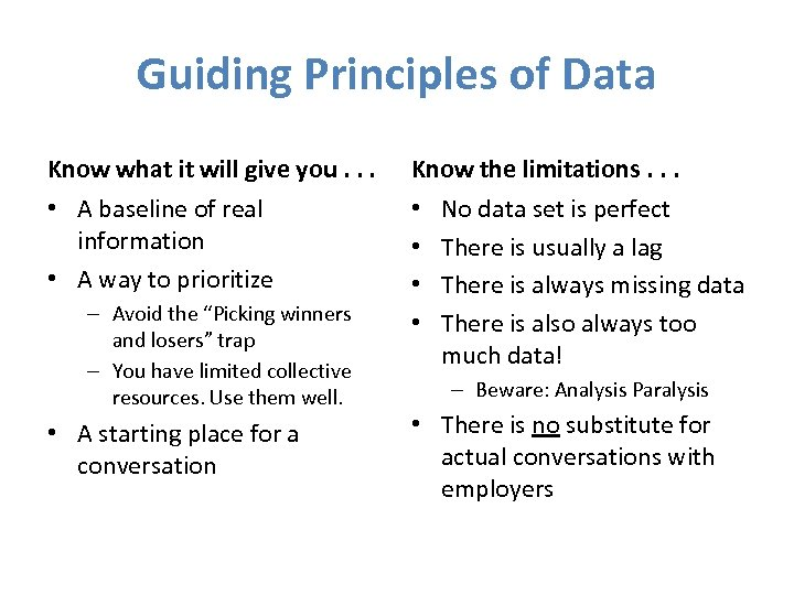Guiding Principles of Data Know what it will give you. . . Know the