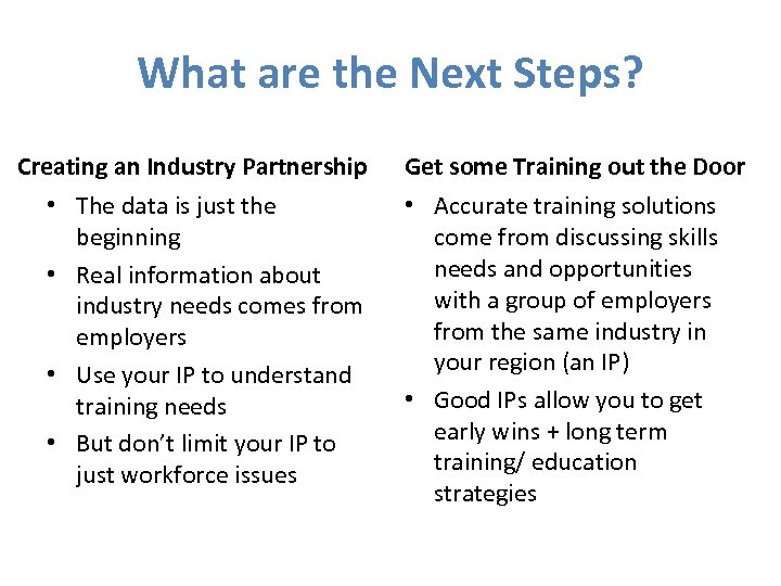 What are the Next Steps? Creating an Industry Partnership • The data is just