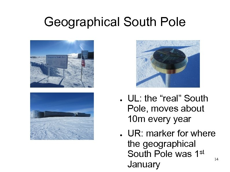 """Geographical South Pole ● ● UL: the """"real"""" South Pole, moves about 10 m"""