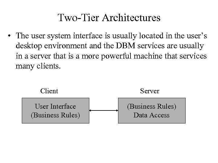 Two-Tier Architectures • The user system interface is usually located in the user's desktop