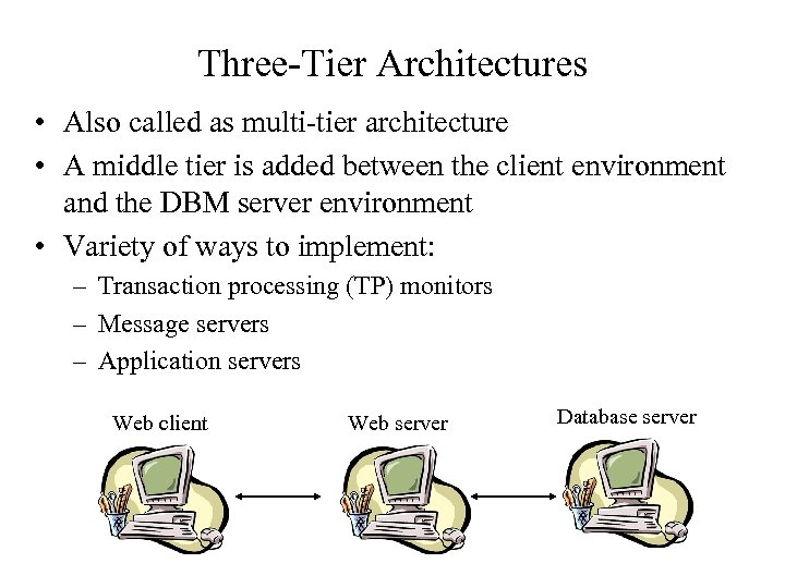 Three-Tier Architectures • Also called as multi-tier architecture • A middle tier is added
