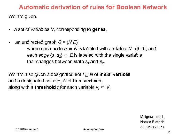 Automatic derivation of rules for Boolean Network We are given: - a set of