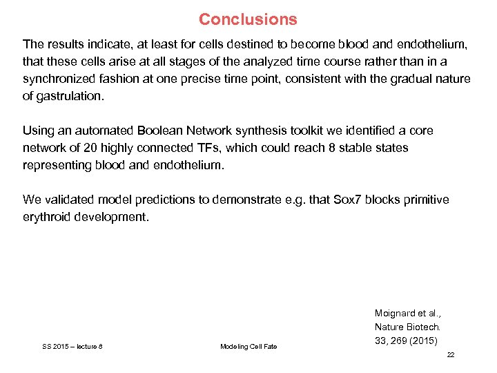 Conclusions The results indicate, at least for cells destined to become blood and endothelium,