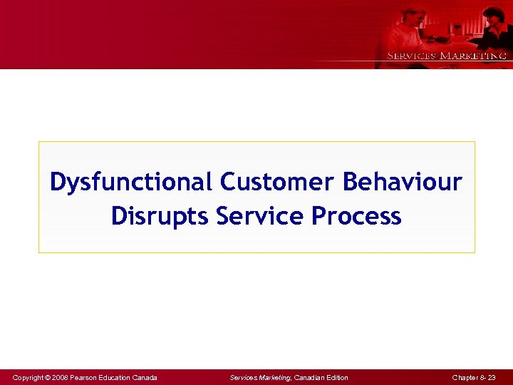 Dysfunctional Customer Behaviour Disrupts Service Process Copyright © 2008 Pearson Education Canada Services Marketing,