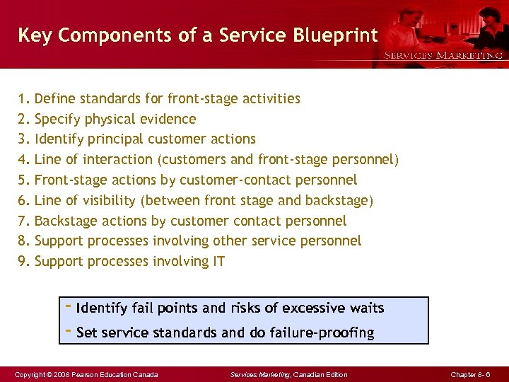 Key Components of a Service Blueprint 1. 2. 3. 4. 5. 6. 7. 8.