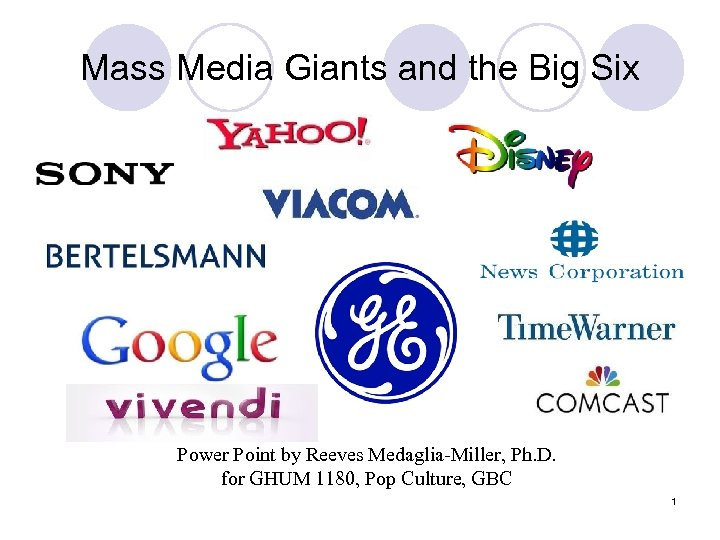 Mass Media Giants and the Big Six Power Point by Reeves Medaglia-Miller, Ph. D.