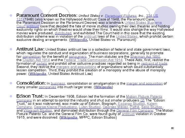 l Paramount Consent Decrees: United States v. Paramount Pictures, Inc. , 334 US l