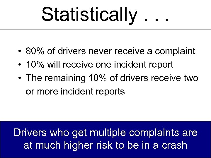 Statistically. . . • 80% of drivers never receive a complaint • 10% will