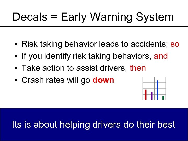 Decals = Early Warning System • • Risk taking behavior leads to accidents; so