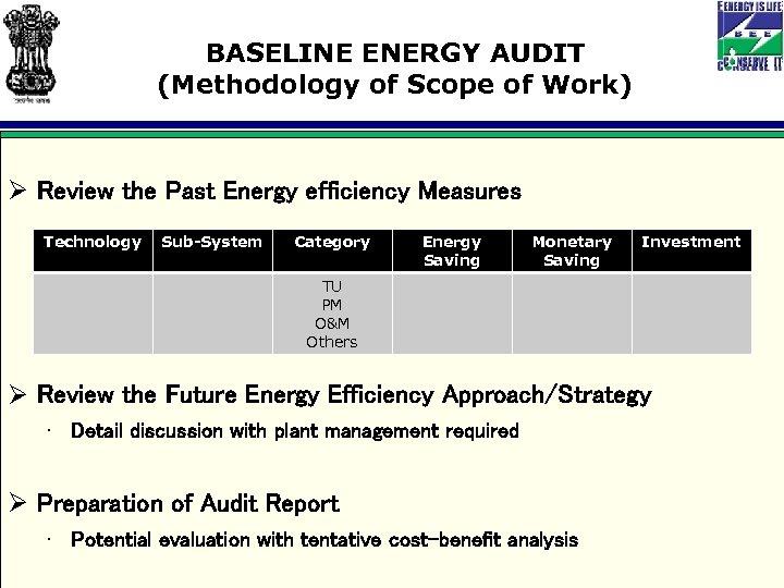BASELINE ENERGY AUDIT (Methodology of Scope of Work) Ø Review the Past Energy efficiency