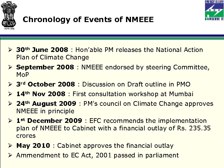 Chronology of Events of NMEEE Ø 30 th June 2008 : Hon'able PM releases