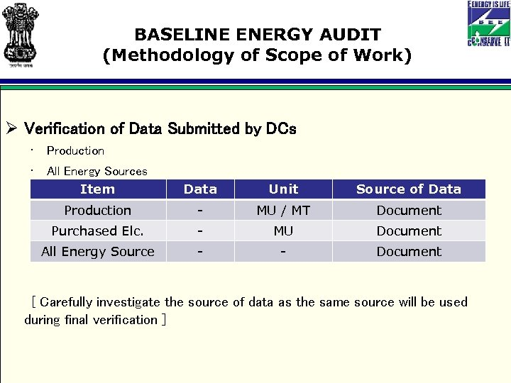 BASELINE ENERGY AUDIT (Methodology of Scope of Work) Ø Verification of Data Submitted by