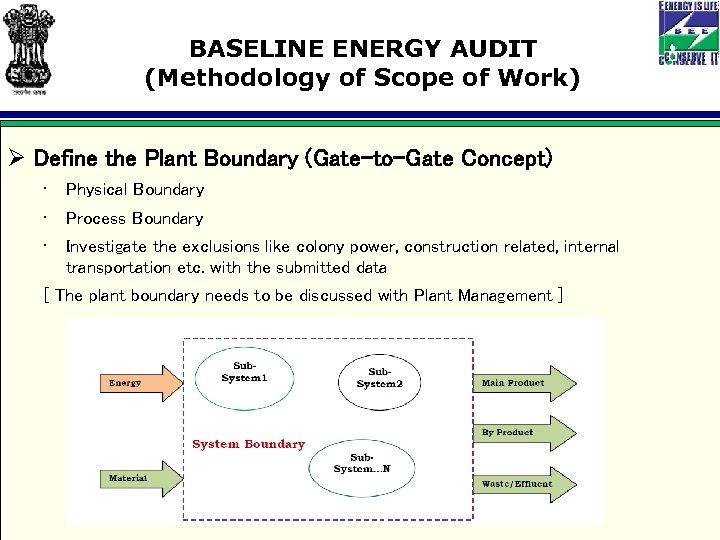 BASELINE ENERGY AUDIT (Methodology of Scope of Work) Ø Define the Plant Boundary (Gate-to-Gate