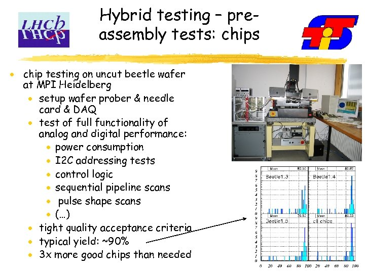 Hybrid testing – preassembly tests: chips chip testing on uncut beetle wafer at MPI