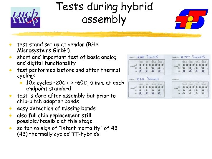 Tests during hybrid assembly test stand set up at vendor (RHe Microsystems Gmb. H)