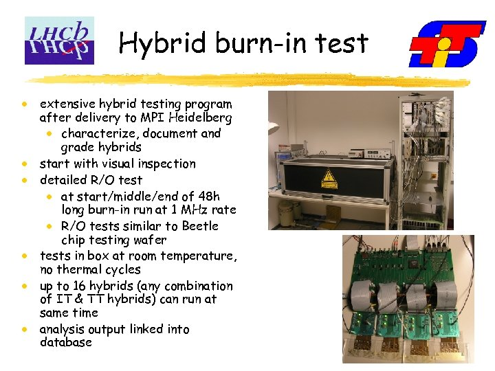 Hybrid burn-in test extensive hybrid testing program after delivery to MPI Heidelberg characterize, document